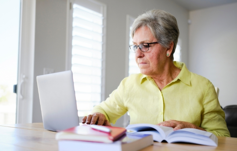 An older woman studying to start a new career.